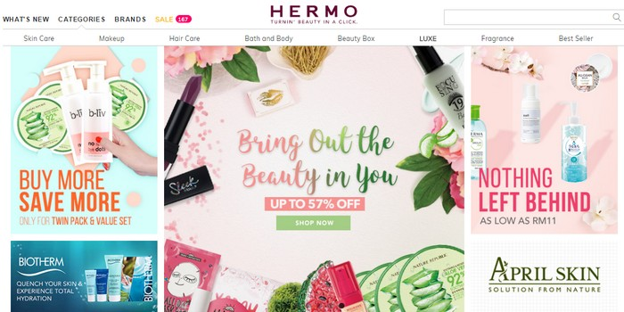 Beli produk skin care Korea mudah melalui website eCommerce Hermo Malaysia