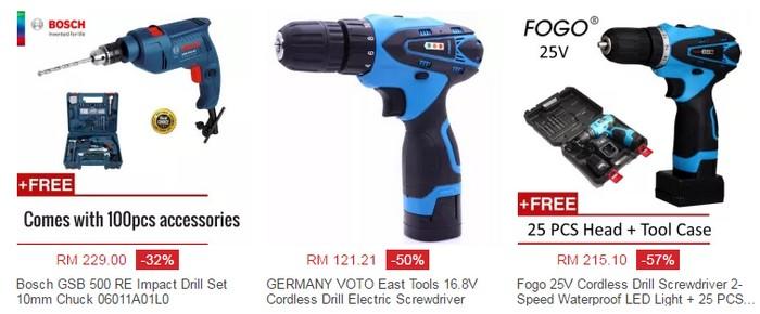 Beli set lengkap mesin gerudi mudah alih drill berharga murah online di website eCommerce Lazada Malaysia