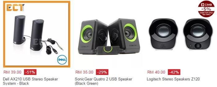 Beli speaker stereo murah untuk komputer dengan jenama Dell dan Logitech di web eCommerce Lazada Malaysia