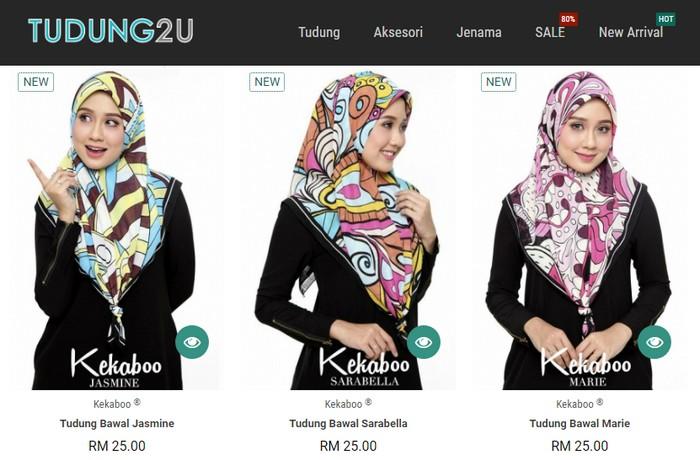 Beli tudung bawal Kekaboo di internet melalui website eCommerce Tudung2u