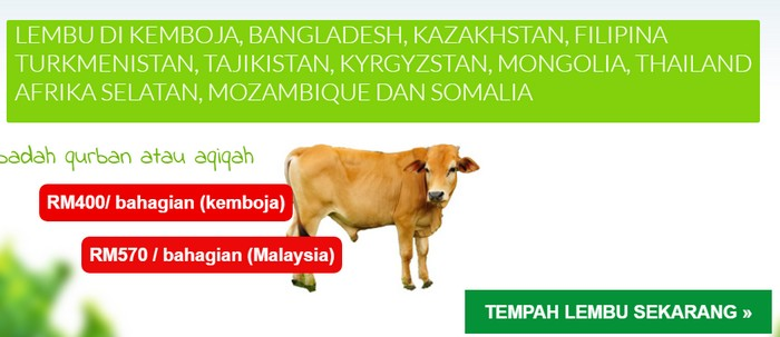 Bersedekah untuk saham akhirat melalui program ibadah qurban daging lembu kambing secara online