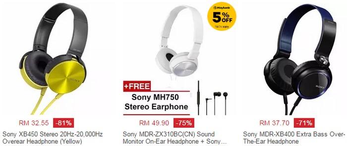 Dapatkan headphone murah yang berkualiti jenama Sony di website eCommerce merchant Lazada Malaysia