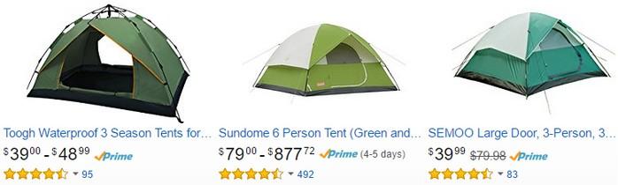 Dapatkan khemah camping kalis air di website eCommerce Amazon