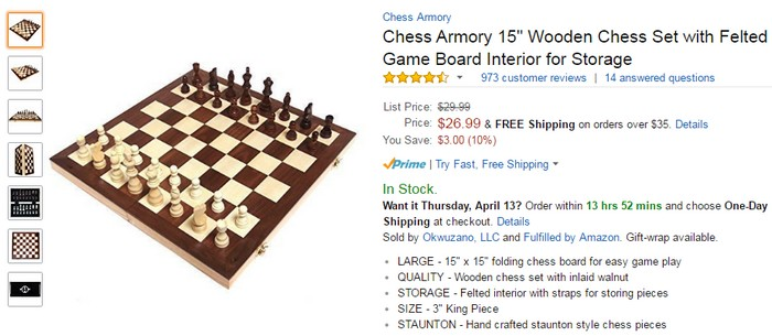 Dapatkan papan catur kayu yang berkualiti di website eCommerce Amazon