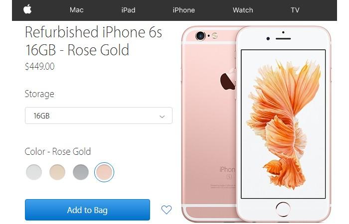 Gambar sebenar bagaimana refurbished iPhone 6S di jual melalui website Apple sendiri