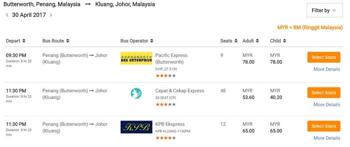 Perbandingan harga tiket bas ekspress yang murah dari Cepat & Cekap Express melalui website beli tiket bas online