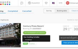 Resit tempahan booking hotel dengan Agoda untuk bilik hotel di Cameron Highlands