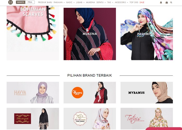 Rupa hadapan website eCommerce pakaian muslimah Hijabenka Indonesia
