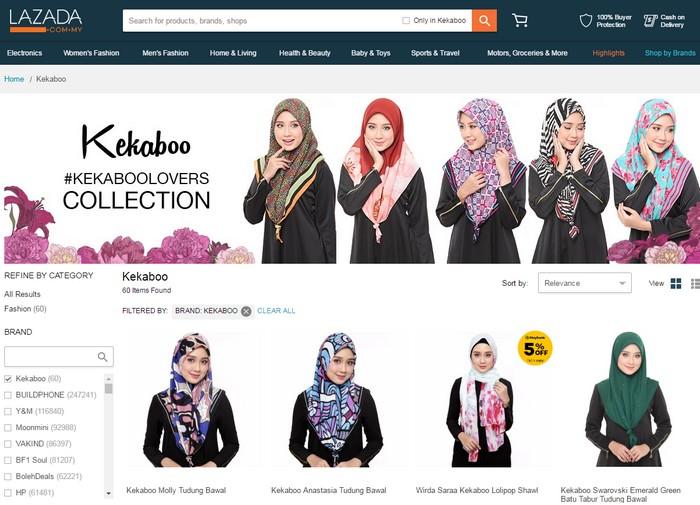 Website official store di Lazada Malaysia yang menjual tudung bawal Kekaboo murah secara online