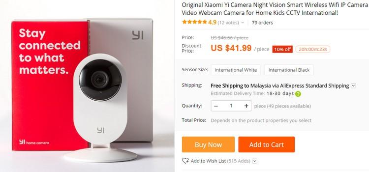 Beli cctv mudah alih IP webcam jenama Xiaomi di website eCommerce Aliexpress