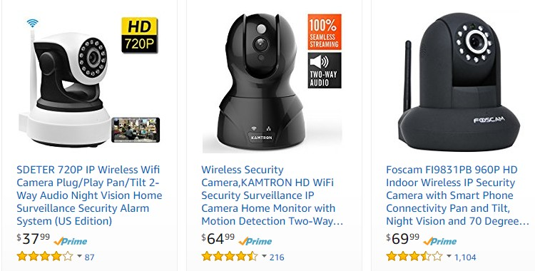 Beli kamera cctv portable wifi wireless jenis IP camera yang berkualiti di internet melalui website eCommerce Amazon