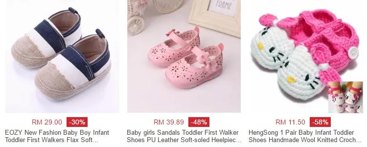Beli kasut kanak kanak berharga murah di website Lazada Malaysia