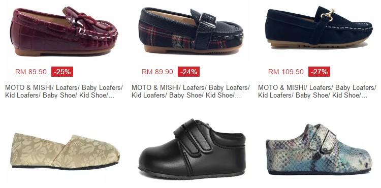 Promosi diskaun harga murah untuk kasut raya kanak kanak di website Lazada Malaysia