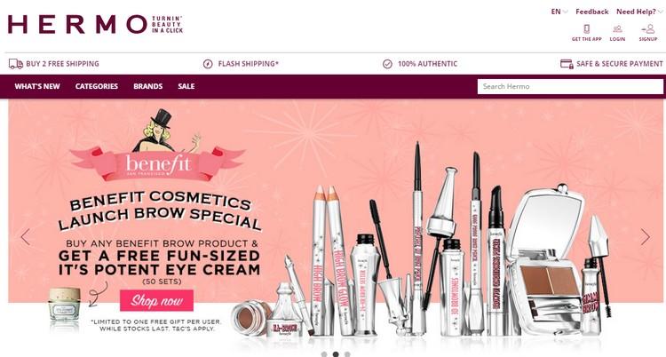 Website Hermo adalah website yang menjual produk dan barangan kecantikan