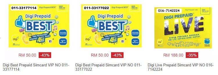 Contoh sebenar nombor telefon vip untuk simkad prepaid Digi