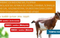 Pakej tempahan qurban Malaysia pada musim haji