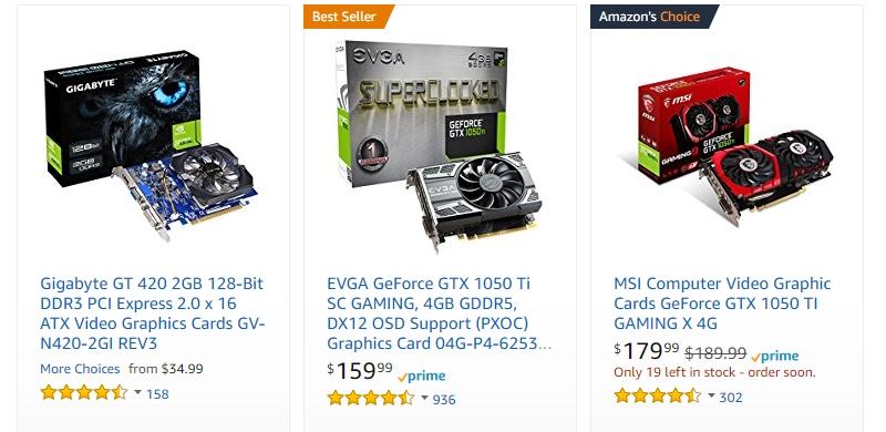 Dapatkan kad grafik komputer original di website eCommerce Amazon
