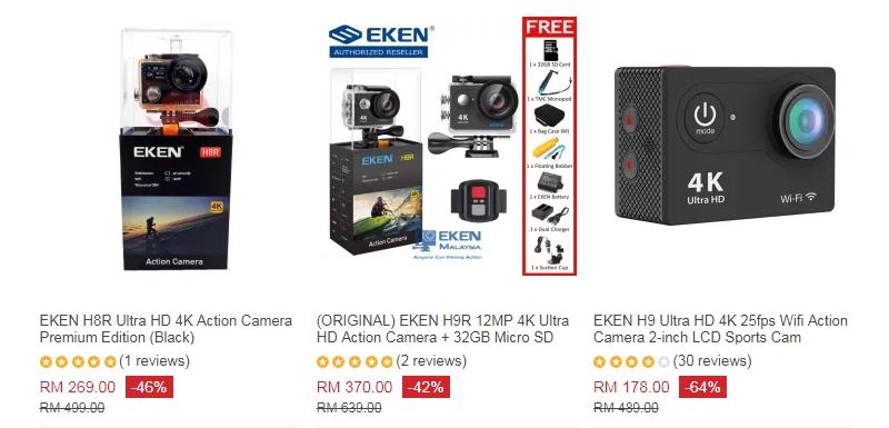 Action kamera jenama EKEN juga murah tetapi terbaik dan di jual di eCommerce Lazada Malaysia