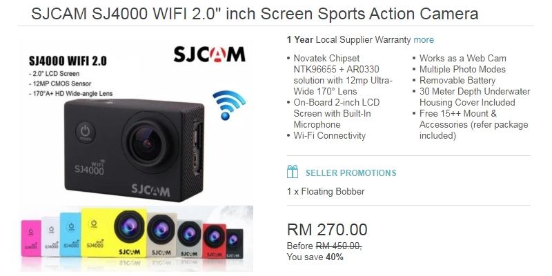 Action kamera jenama Sj Cam berkualiti hanya berharga RM300 sahaja di Lazada Malaysia