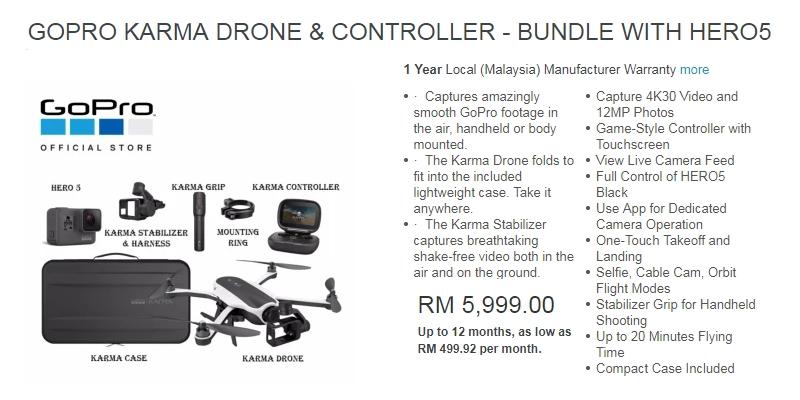 Contoh harga terkini set lengkap GoPro Drone Karma yang dijual di website Lazada Malaysia