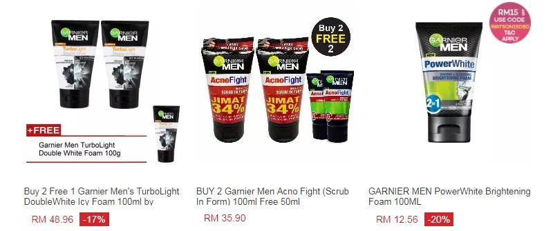Contoh produk pencuci muka lelaki jenama Garnier Men di Lazada Malaysia