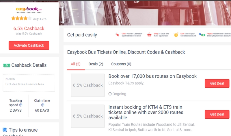 Dapat pulangan cashback duit semula jika order tiket bas melalui website Easybook