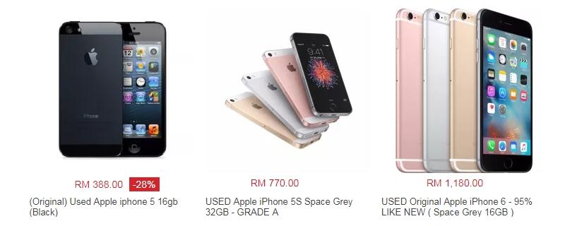 Harga iPhone terpakai yang bagus ada dijual di website eCommerce Lazada Malaysia