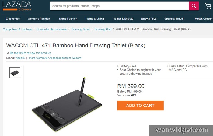 Beli tablet drawing Wacom CTL-471 di Lazada