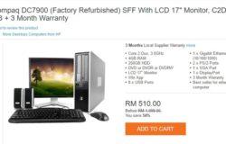 Contoh tawaran untuk beli komputer murah refurbished yang bagus di bawah harga RM500