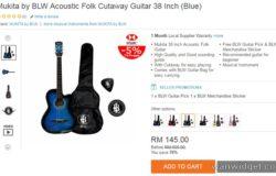 Set gitar kapok murah buatan kayu siap dengan beg