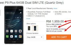 Contoh gambar sebenar smartphone yang memberi pilihan bayaran secara installment di Lazada Malaysia