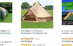 Beli khemah camping yang cantik dan unik di internet di website eCommerce Aliexpress
