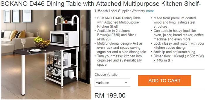 Beli Meja Makan Kecil Jenis Pelbagai Guna Online Melalui Website Ecommerce Lazada Malaysia