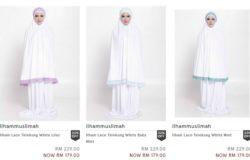 Beli set kain telekung putih sulam cantik berkualiti di internet di website eCommerce Zalora Malaysia