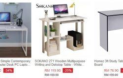 Dapatkan meja komputer yang kemas, cantik dan tahan lama di eCommerce Lazada Malaysia