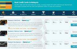 Contoh paparan perbandingan kredit kad Malaysia di website Ringgit Plus