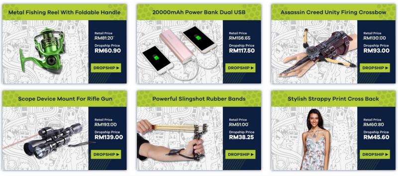 Contoh produk barangan dropship murah di website Kumoten