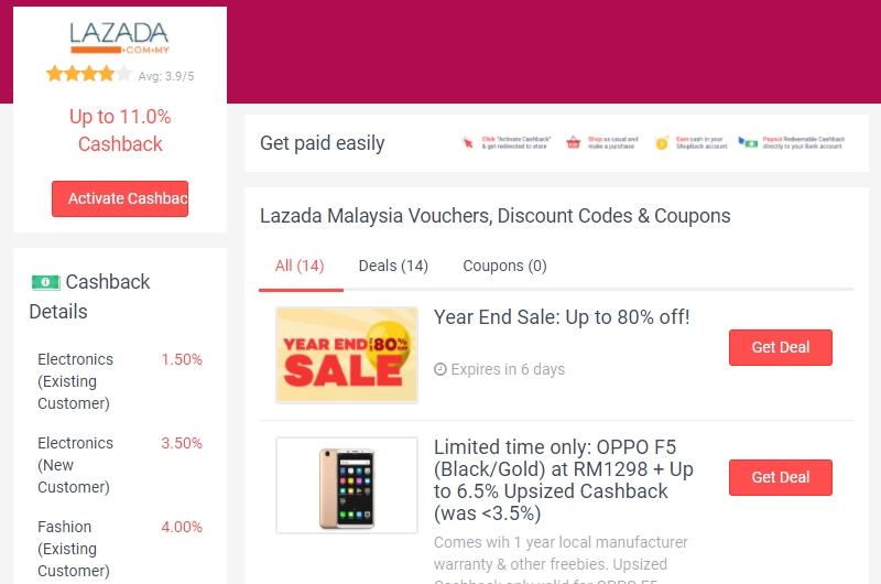 Dapatkan baucer Lazada dalam bentuk DEAL di website eCommerce Shopback Malaysia