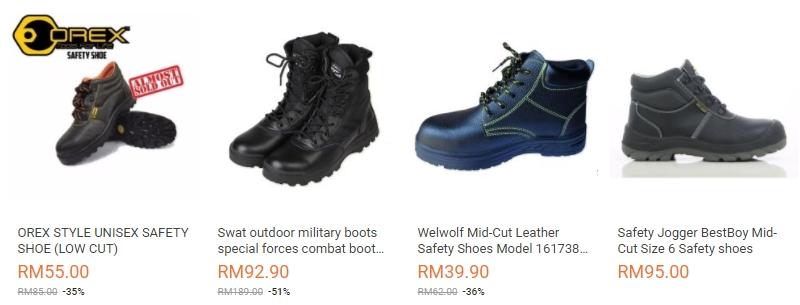 Pelbagai jenis design dan jenama kasut safety yang banyak dijual di website Lazada Malaysia