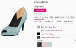 Servis perkhidmatan custom made kasut wanita online di Christy Ng
