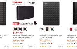 Antara jenama external hard disk yang ada dijual di website eCommerce Lazada Malaysia