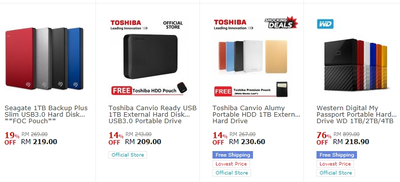 Banyak portable hard drive berkualiti dan juga cantik dijual di website eCommerce 11Street