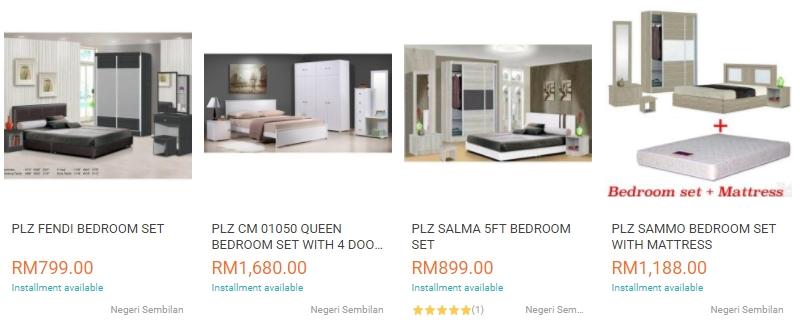 Set bilik tidur lengkap yang murah di website eCommerce Lazada Malaysia