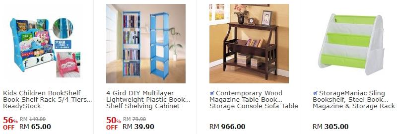 Bookshelf yang pelbagai jenis ada dijual di website 11Street Malaysia