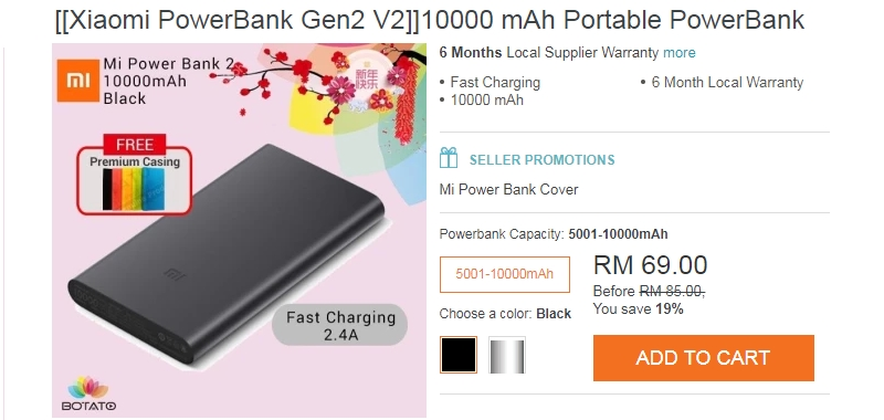 Harga Powerbank Xiaomi Yang Ditawarkan Di Website eCommerce Lazada Malaysia