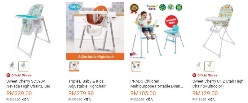 Kerusi makan bayi pelbagai jenis di website eCommerce Lazada Malaysia