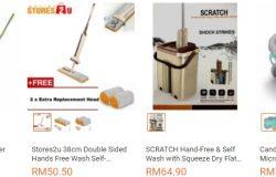 Pelbagai jenis bentuk dan rekaan pengelap lantai mop yang dijual di website eCommerce Lazada Malaysia
