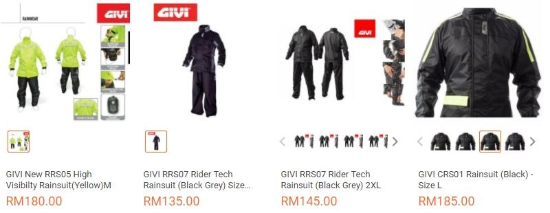 Promosi baju hujan jenama Givi di website eCommerce Lazada Malaysia