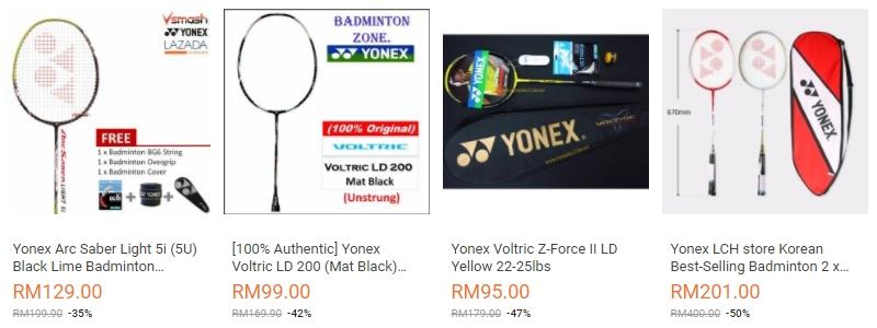 Raket badminton jenama Yonex banyak dijual di website eCommerce Lazada Malaysia