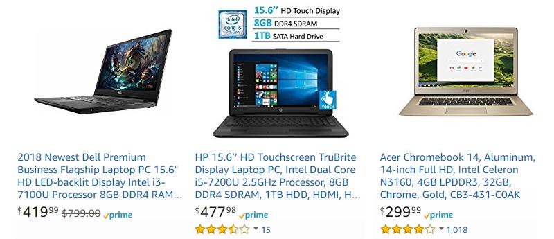 Terdapat banyak laptop notebook murah berkualiti di website Amazon
